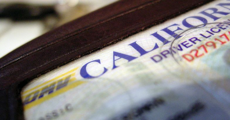 california driver's license in wallet