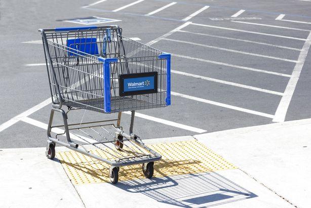 empty Walmart shopping cart