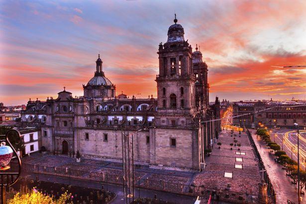 Metropolitan Cathedral Zocalo Mexico City Sunrise Mexico