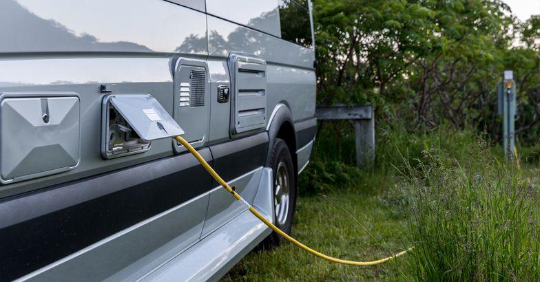 camper van with electricity hookup