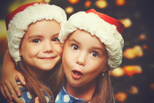 Girls in Santa hats
