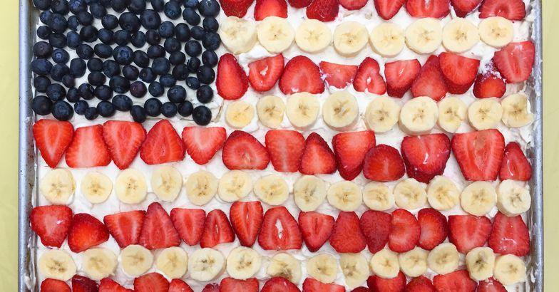 fruit salad flag cake