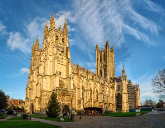 Canterbury cathedral in sunset rays, England