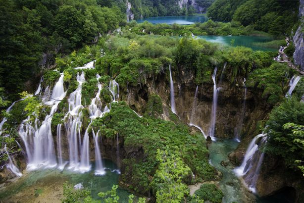Plitvice Lakes main waterfall in spring