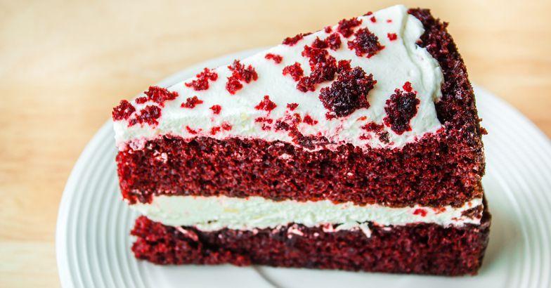 red velvet cream pie slice on plate