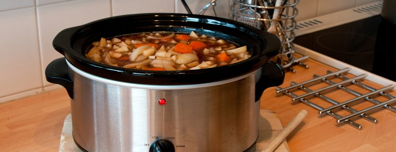 slow cooker on kitchen countertop