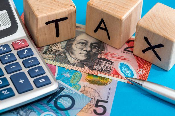 calculator, wood blocks spelling tax, australian dollars