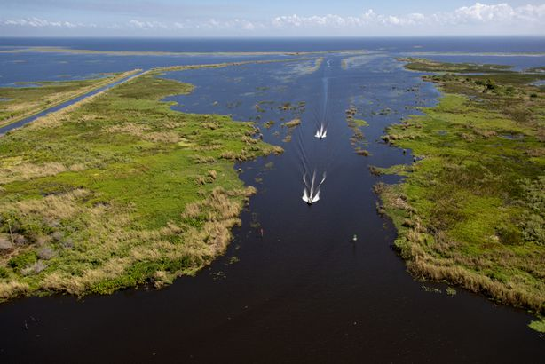 Arial view of Lake Okeechobee, Florida