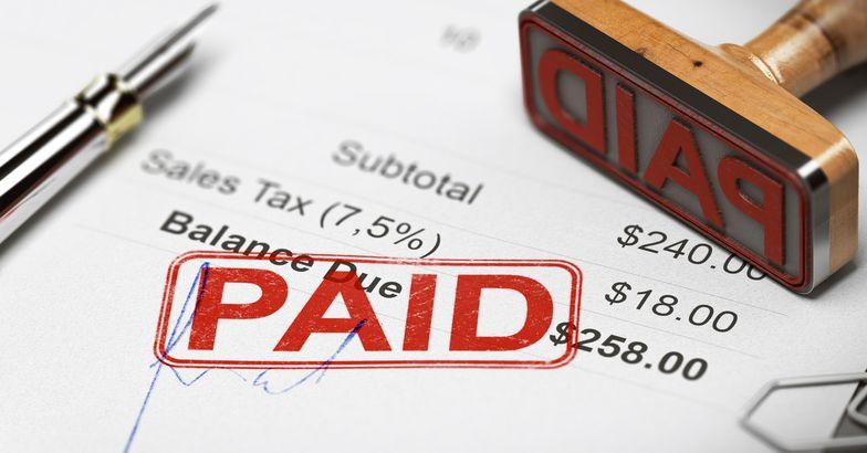 bill stamped 'debt-free'
