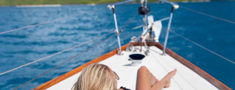 Woman on yacht living large