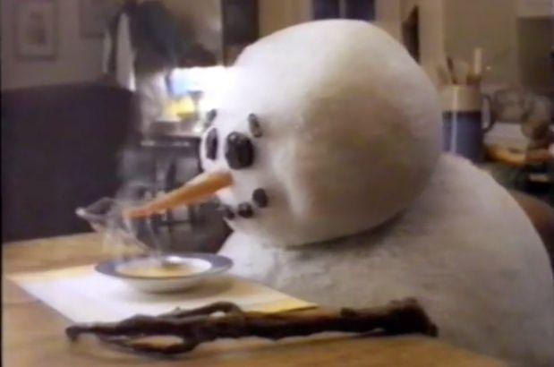 Melting snowman ad