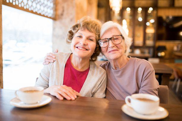 Senior women having coffee