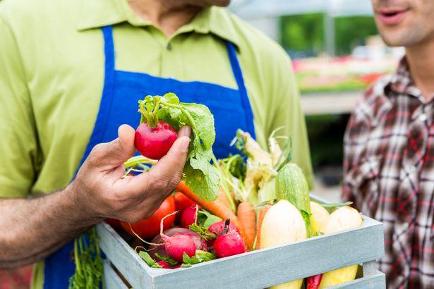 Showing fresh produce