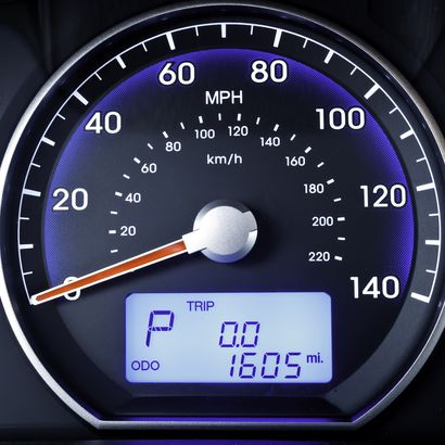 speedometer in parked car