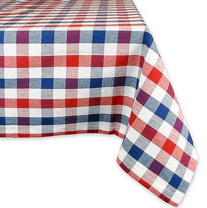 Red, white, and blue checkered tablecloth
