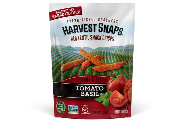 Harvest Snaps Red Lentil Snack Crisps Tomato Basil