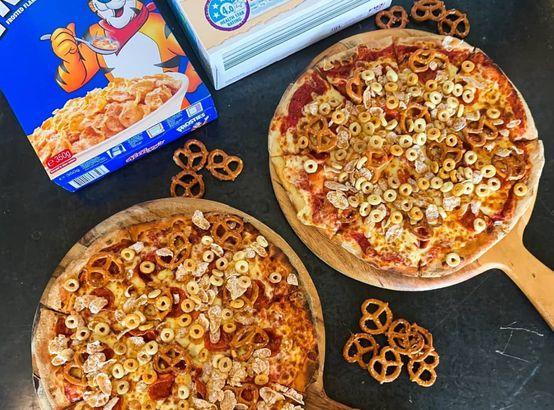 'Trivia Night' pretzel and cereal pizza
