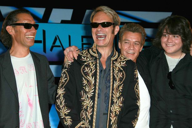 Alex and Eddie Van Halen with David Lee Roth and Eddie's son