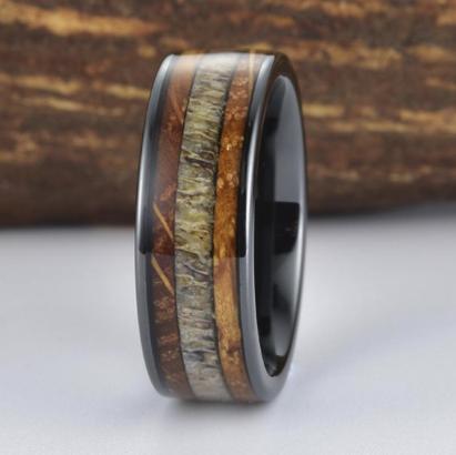 Whiskey barrel, antler and ceramic ring